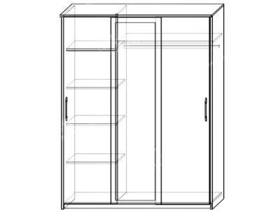 Шкаф-купе Контур 3-х ств (ширина-1,5м, глубина-0,58м, высота-2,1м)