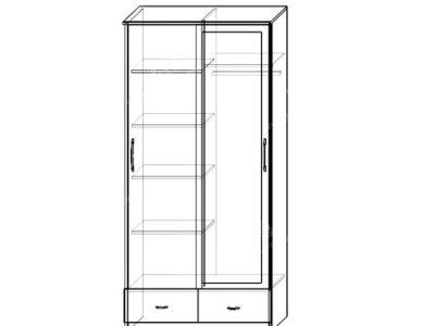 Шкаф-купе Уют 2-х ств (ширина-1м, глубина-0,58м, высота-2,27м)