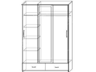 Шкаф-купе Уют 3-х ств (ширина-1,5м, глубина-0,58м, высота-2,27м)