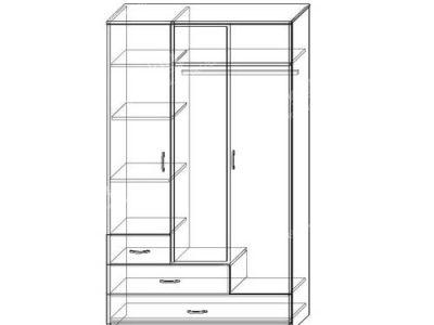Шкаф Престиж-1 (ширина-1,2м, глубина-0,5м, высота-2,1м)